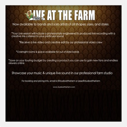 Track your music with our specialty service called LIVE AT THE FARM